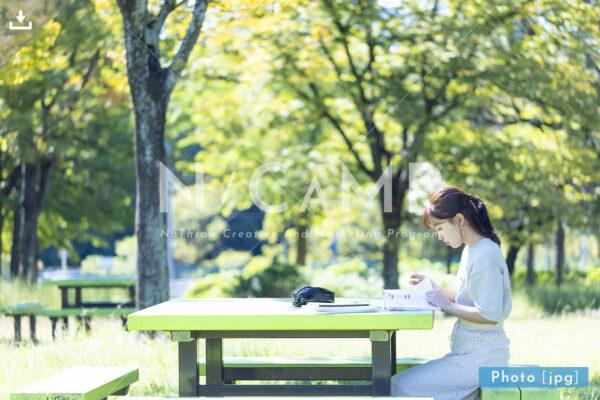 N_001015_0145_公園で勉強する大学生